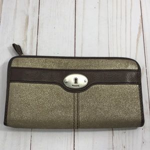 Fossil two tone 3/4 zip wallet